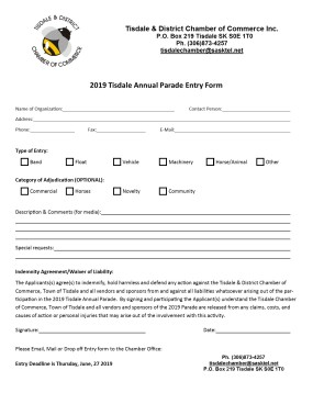 2019 Parade Entry Form