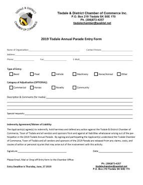 2019 Parade Entry Form
